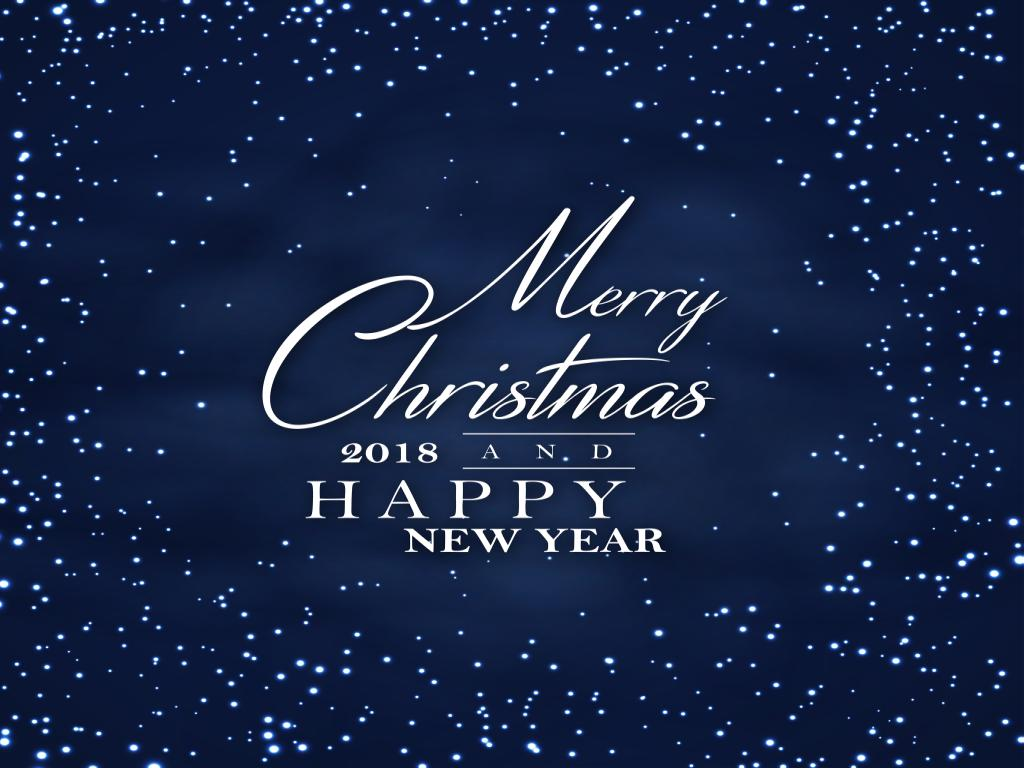 Dark Night Merry Christmas and Happy New Year 2018 Poster Backgr